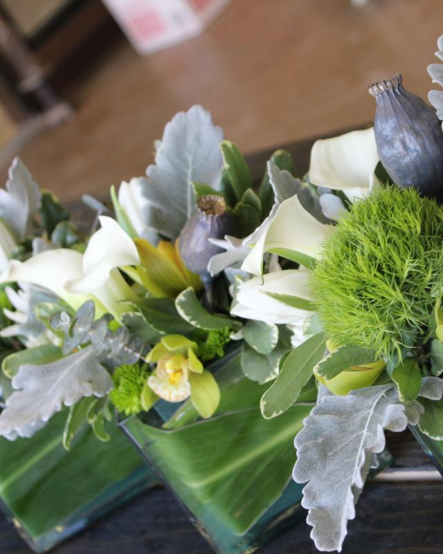 Green and grey flower arrangement